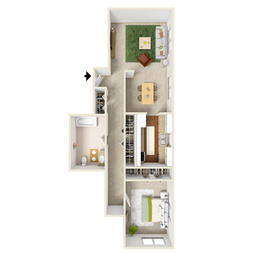north dohr one bedroom floor plan C
